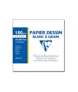Clairefontaine Dessin à grain - Pochette papier à dessin - 180 Gr - A4 - 12 feuilles