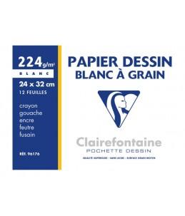 ClairefontaineDessin à Grain - Papier à dessin - A4 Plus - 224 Gr - 12 feuilles