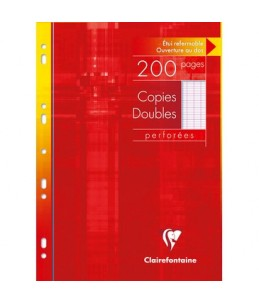 Clairefontaine - A4 - Copies doubles - 21 x 29,7 -  200 pages - Grands carreaux