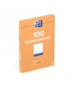 Oxford - Fiches Bristol - A4 - 21  x 29,7 cm - Non perforées - Blanc - Uni - Pack de 100