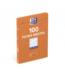 Oxford Bristol - 100 Fiches d'index - A4 -Blanc - Perforée - 5x6