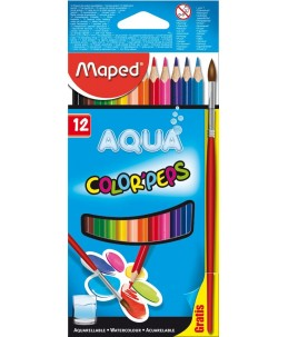 Maped Color'Peps Aqua - 12 Crayons de couleurs aquarellables - couleurs assorties - 2.9 mm