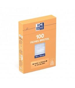 Oxford - Fiches Bristol - A6 - 10,5 x 14,8 cm - Perforées - Blanc - Petits carreaux - Pack de 100
