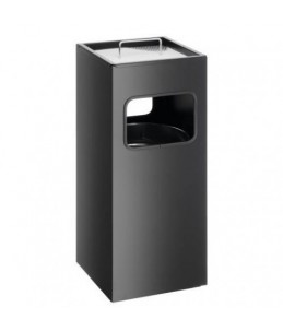 WASTE BASKET METAL WITH ASHTRAY SQUARE